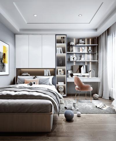 现代风格榻榻米卧室 书桌 书柜 床