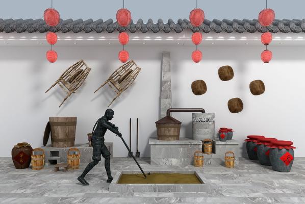 新中式酿酒作坊 酒缸酒桶模型组合