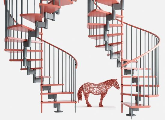 工业风楼梯 雕塑摆件