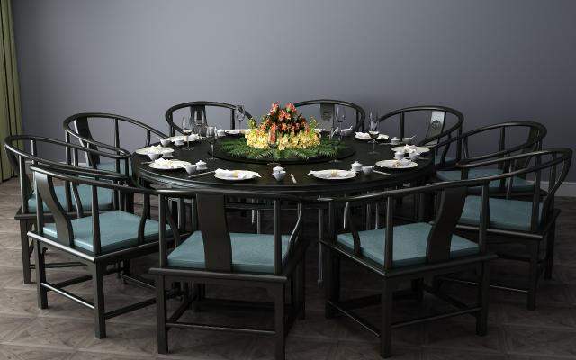 中式实木圆桌餐桌