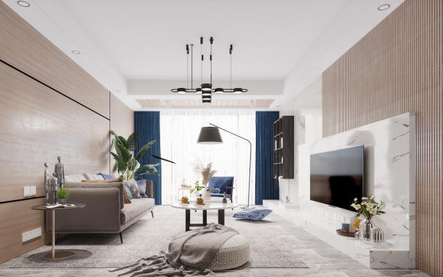 北欧风格客厅 茶几 沙发 休闲凳子 电视柜