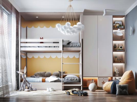 現代兒童房 兒童床 裝飾柜