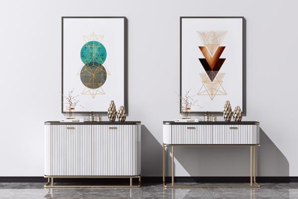 现代餐边柜组合 端景柜 装饰摆件