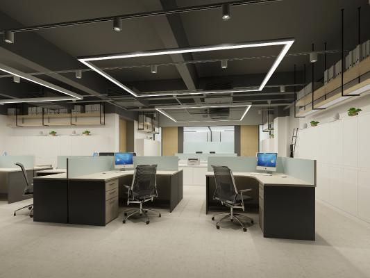 现代风格办公室 开放式办公区 吊灯 办公桌椅