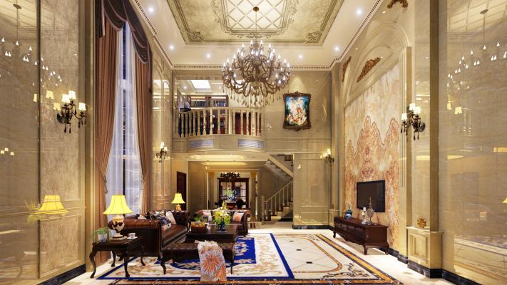 欧式古典复式别墅客厅