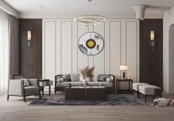 新中式客厅 沙发茶几组合 背景墙