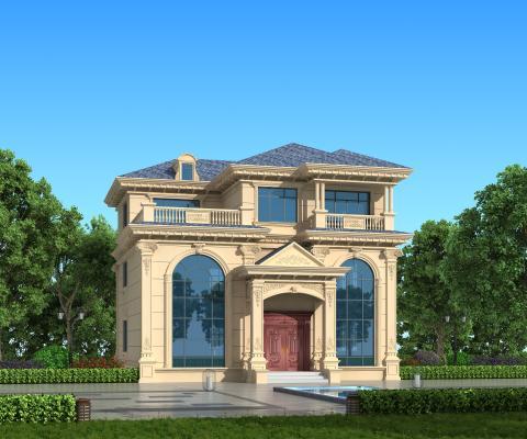 简欧式独栋别墅外观 室外建筑 外立面