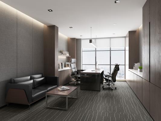 现代经理办公室 办公桌椅 黑色皮质休闲沙发 茶几