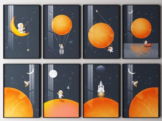 现代宇航员挂画 装饰画 抽象画 艺术画
