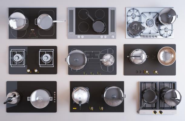 现代厨房燃气灶 电磁炉 厨具组合
