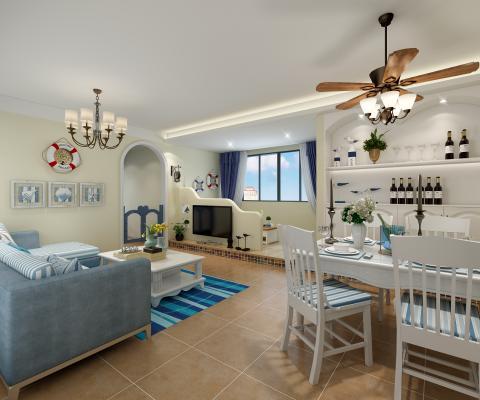 地中海客厅 餐厅 卧室
