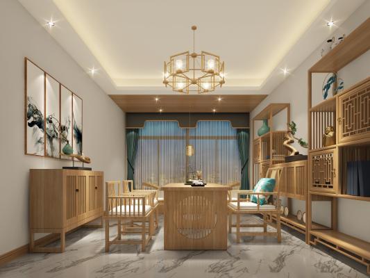 新中式书房 书架