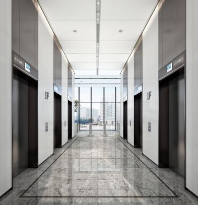 现代电梯过道 办公电梯厅