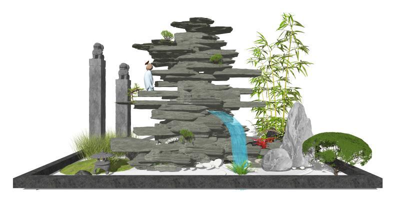 新中式假山石头 跌水景观 庭院景观