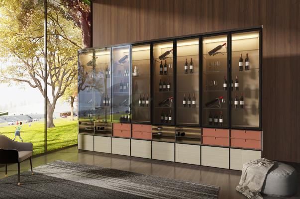 现代轻奢玻璃酒柜