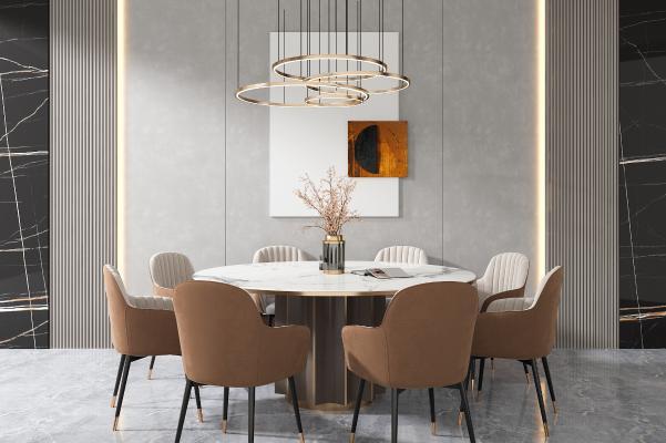 现代圆形餐桌椅组合 金属吊灯 装饰挂画