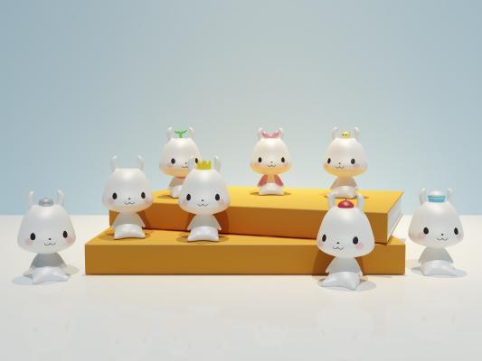 现代小白兔公仔 玩偶 桌面装饰 礼物摆件
