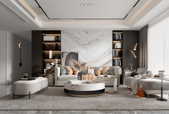 现代客厅 沙发 茶几 边几 多人沙发 吊灯 电视柜 餐厅 餐桌 餐椅