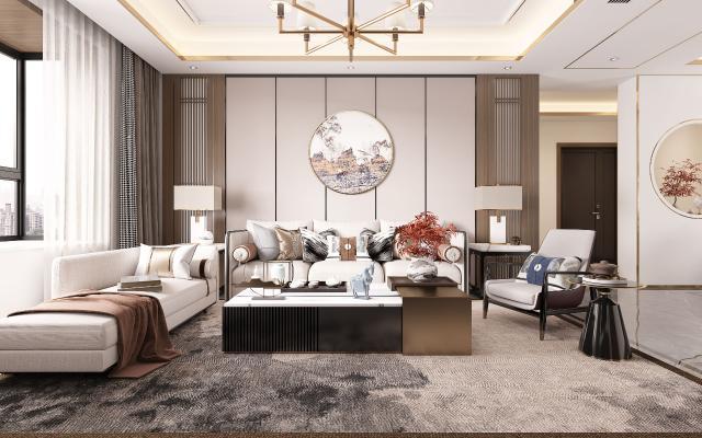 新中式客厅 沙发茶几