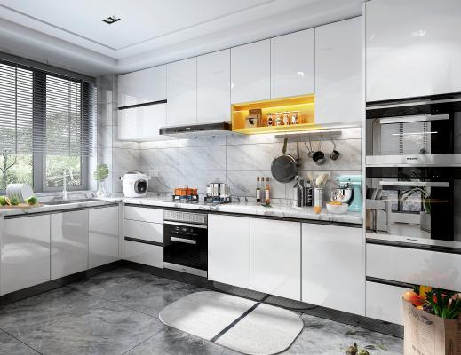 现代风格橱柜 烟机灶具 蒸烤箱