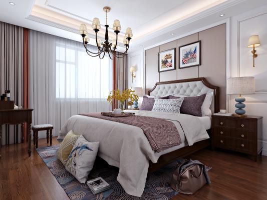美式卧室 双人床 梳妆台