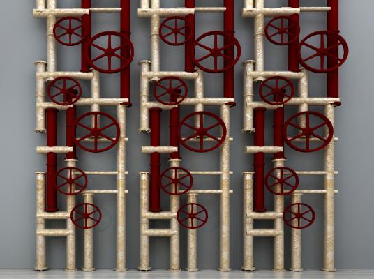工业风消防管道 消防器具 消防阀 消防带