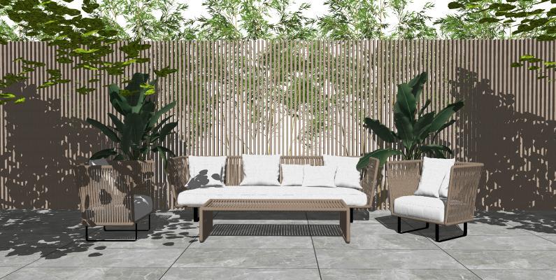 现代户外沙发茶几组合 藤编沙发 户外植物景观