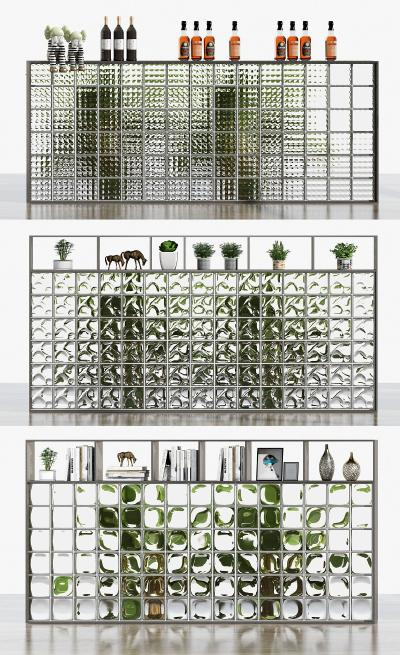 现代玻璃砖隔断
