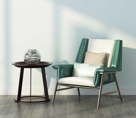 新中式休闲单人沙发 圆几组合
