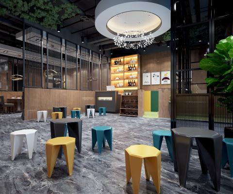 现代餐厅 等候区 前台