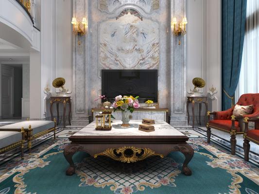 法式风格别墅客厅 楼梯间