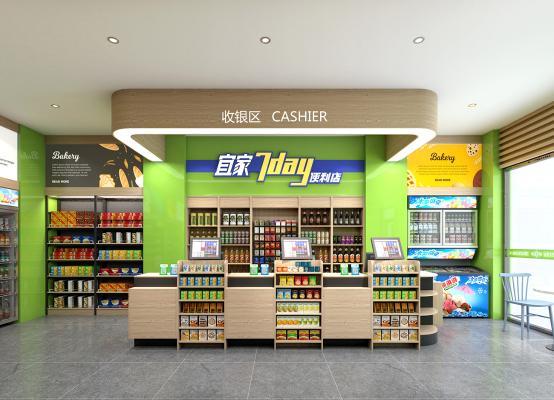 现代超市便利店 前台 货架