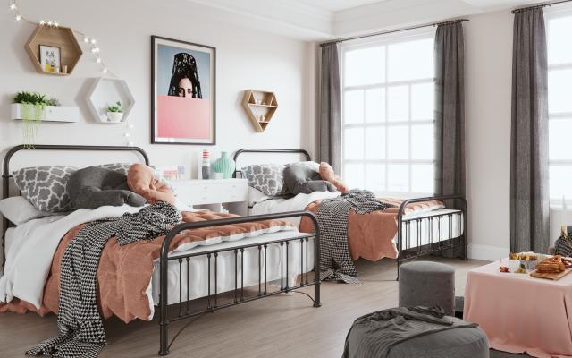 现代女儿房 铁艺床 儿童床