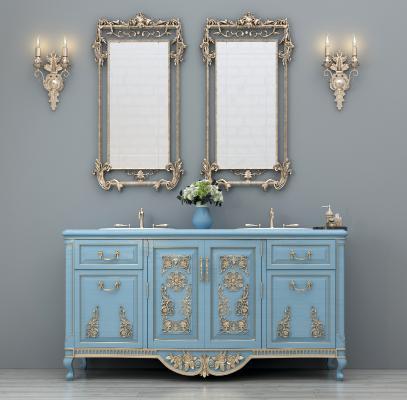 欧式简约洗手台洗手柜卫浴镜壁灯摆件组合