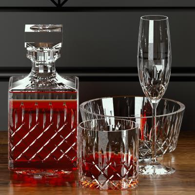 现代酒瓶玻璃杯组合