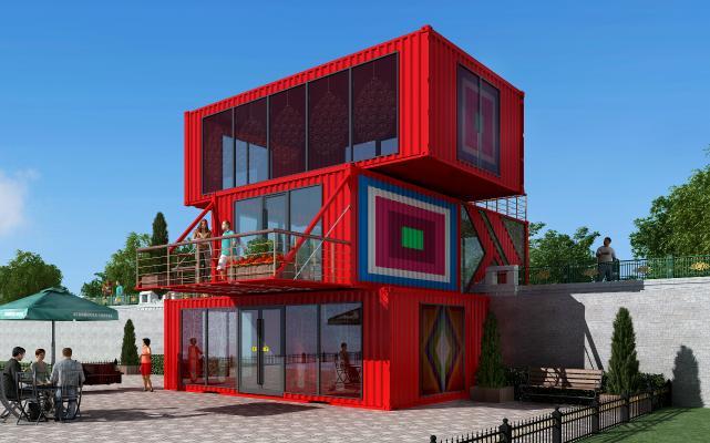 现代风格建集装箱 集装箱卖场 集装箱宾馆