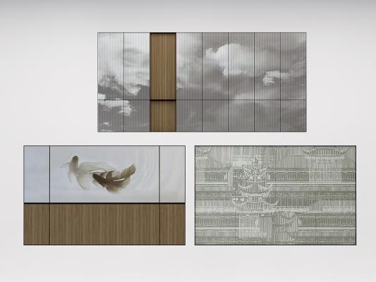 新中式硬包背景墻,屏風畫