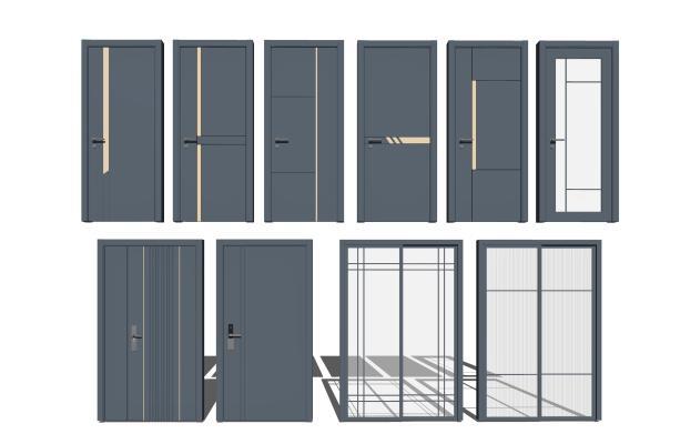 现代单开门 玻璃门 门组合