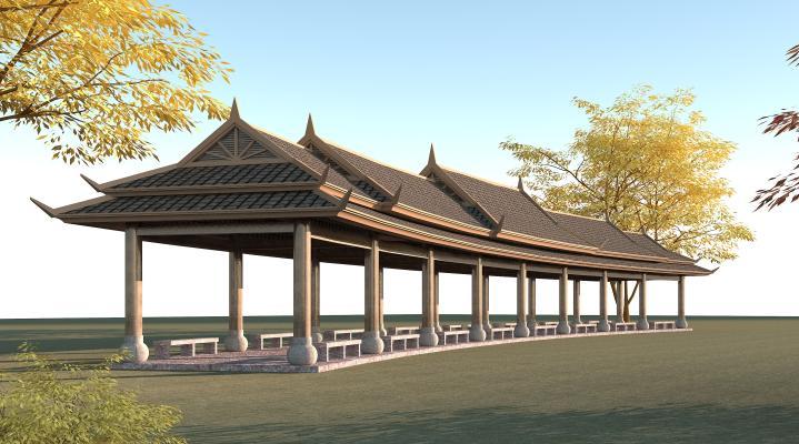 东南亚风格长廊 休闲廊坊 凉亭