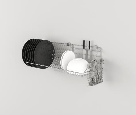 现代厨房不锈钢碗碟 筷子沥水架