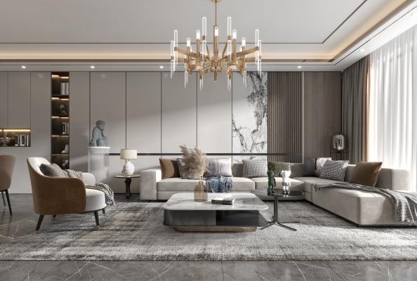 现代会客厅 沙发 电视柜 酒柜 吊灯 装饰画