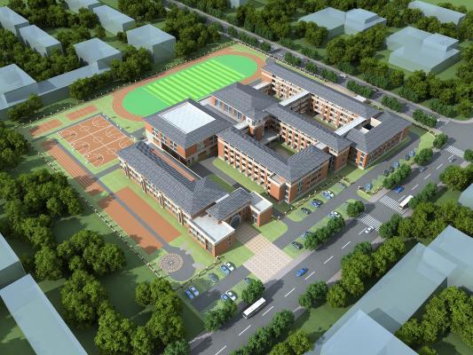 新中式小学学校鸟瞰