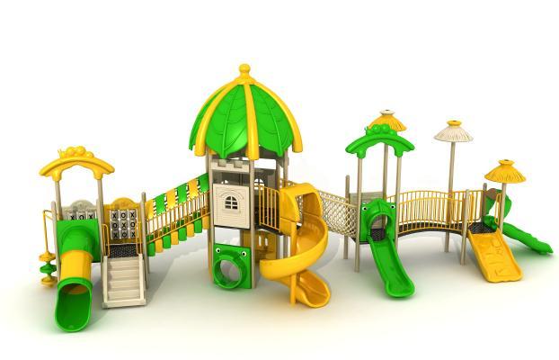 现代风格游乐设备 儿童滑梯 爬网