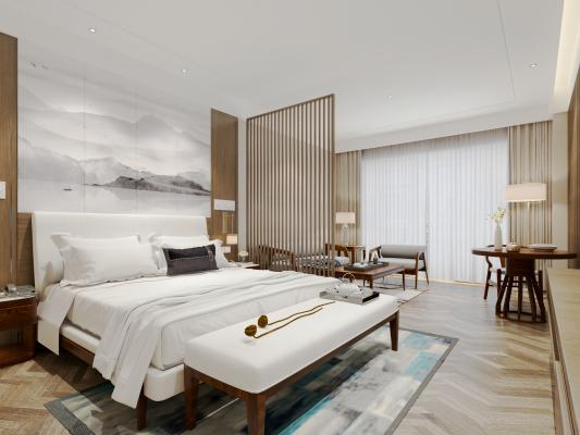 新中式酒店客房家具背景墙