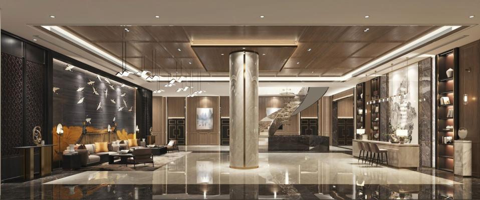 新中式酒店大堂 前台