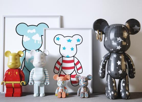 現代潮流Bearbrick暴力熊兒童玩具裝飾擺件