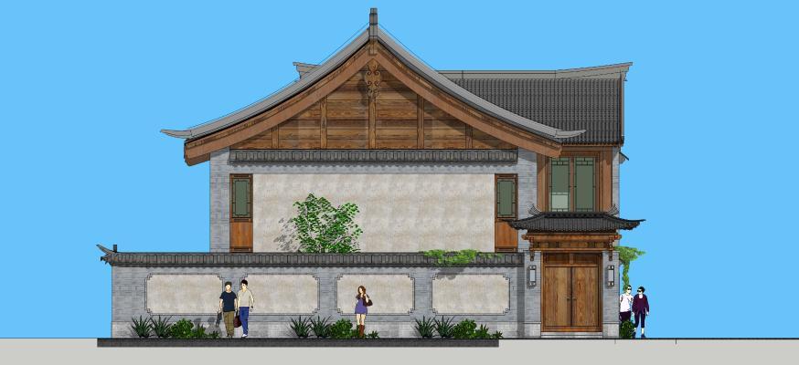 中式三开间院子