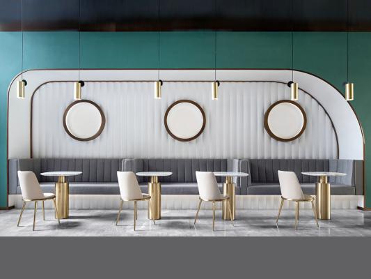 现代简约餐厅卡座