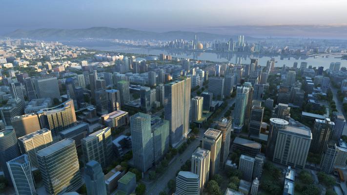 现代建筑鸟瞰