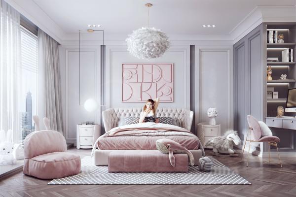 简美轻奢女孩房 床 沙发凳